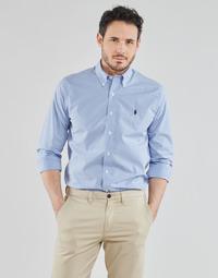 衣服 男士 长袖衬衫 Polo Ralph Lauren CHEMISE AJUSTEE EN POPLINE DE COTON COL BOUTONNE  LOGO PONY PLAY 蓝色 / 白色