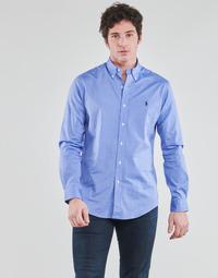 衣服 男士 长袖衬衫 Polo Ralph Lauren CHEMISE AJUSTEE EN POPLINE DE COTON COL BOUTONNE  LOGO PONY PLAY 蓝色