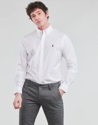 衣服 男士 长袖衬衫 Polo Ralph Lauren CHEMISE AJUSTEE EN POPLINE DE COTON COL BOUTONNE  LOGO PONY PLAY 白色