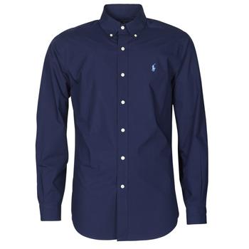 衣服 男士 长袖衬衫 Polo Ralph Lauren CHEMISE AJUSTEE EN POPLINE DE COTON COL BOUTONNE  LOGO PONY PLAY 海蓝色