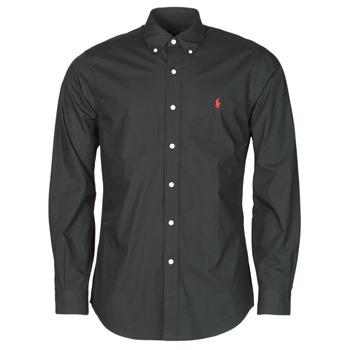衣服 男士 长袖衬衫 Polo Ralph Lauren CHEMISE AJUSTEE EN POPLINE DE COTON COL BOUTONNE  LOGO PONY PLAY 黑色