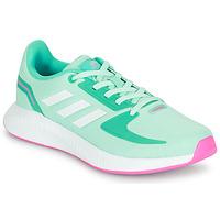鞋子 女孩 球鞋基本款 adidas Performance 阿迪达斯运动训练 RUNFALCON 2.0 K 松石绿 / 玫瑰色