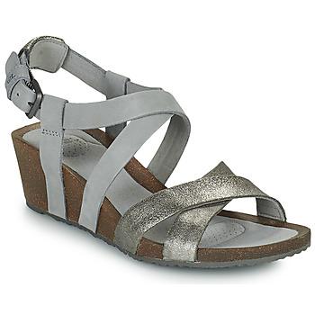 鞋子 女士 凉鞋 Teva MAHONIA WEDGE CROSS STRAP ML 灰色 / 金属银