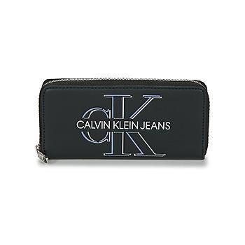 包 女士 钱包 Calvin Klein Jeans ZIP AROUND GLOW 黑色
