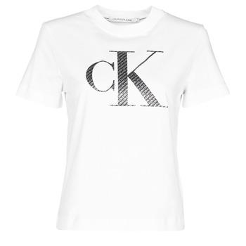衣服 女士 短袖体恤 Calvin Klein Jeans SATIN BONDED FILLED CK TEE 白色