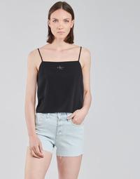 衣服 女士 女士上衣/罩衫 Calvin Klein Jeans MONOGRAM CAMI TOP 黑色