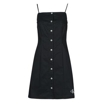 衣服 女士 短裙 Calvin Klein Jeans COTTON TWILL BUTTON DRESS 黑色