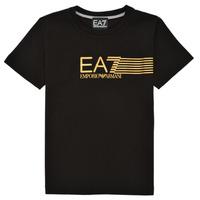 衣服 男孩 短袖体恤 EA7 EMPORIO ARMANI 3KBT54-BJ02Z-1200 黑色 / 金色