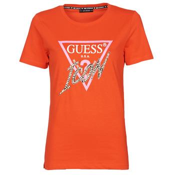 衣服 女士 短袖体恤 Guess SS CN ICON TEE 红色