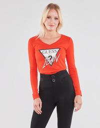 衣服 女士 长袖T恤 Guess LS VN ICON TEE 红色