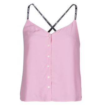 衣服 女士 女士上衣/罩衫 Tommy Jeans TJW CAMI TOP BUTTON THRU 玫瑰色