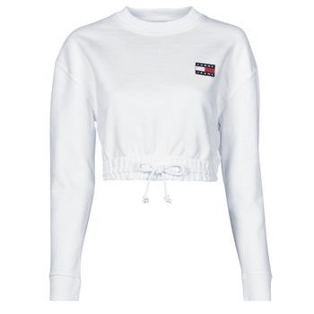 衣服 女士 卫衣 Tommy Jeans TJW SUPER CROPPED BADGE CREW 白色