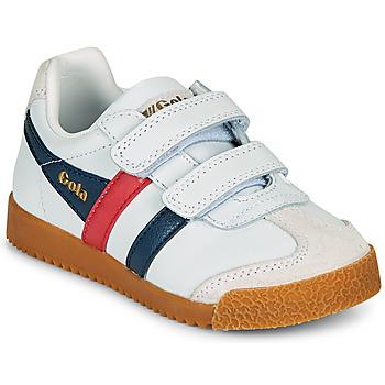 鞋子 儿童 球鞋基本款 Gola HARRIER LEATHER VELCRO 白色 / 海蓝色 / 红色
