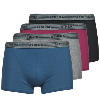 内衣  男士 拳击 Athena BASIC COTON  X4 灰色 / 波尔多红 / 蓝色 / 黑色