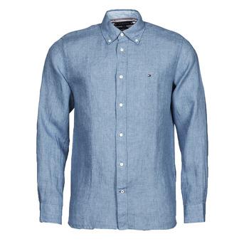 衣服 男士 长袖衬衫 Tommy Hilfiger PIGMENT DYED LINEN SHIRT 蓝色