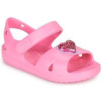 鞋子 女孩 凉鞋 crocs 卡骆驰 CLASSICCROSSSTRAPCHARMSANDAL T 玫瑰色
