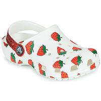 鞋子 女孩 洞洞鞋/圆头拖鞋 crocs 卡骆驰 CLASSIC FOOD PRINT CLOG K 白色 / 玫瑰色