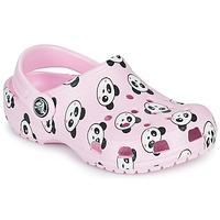 鞋子 女孩 洞洞鞋/圆头拖鞋 crocs 卡骆驰 CLASSIC PANDA PRINT CLOG K 玫瑰色 / 熊猫