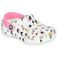 鞋子 女孩 洞洞鞋/圆头拖鞋 crocs 卡骆驰 CLASSIC HEART PRINT CLOG K 白色