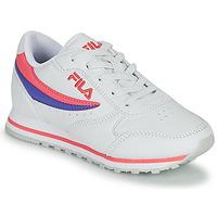 鞋子 女孩 球鞋基本款 Fila ORBIT LOW KIDS 白色 / 玫瑰色