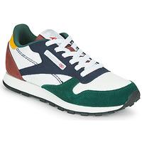 鞋子 儿童 球鞋基本款 Reebok Classic CL LTHR 白色 / 绿色 / 蓝色