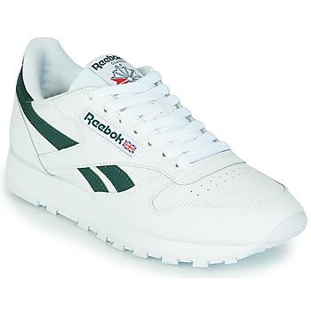 鞋子 球鞋基本款 Reebok Classic CL LTHR 白色 / 绿色