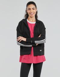 衣服 女士 卫衣 adidas Performance 阿迪达斯运动训练 W Knit V Hoodie 黑色