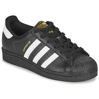 鞋子 儿童 球鞋基本款 Adidas Originals 阿迪达斯三叶草 SUPERSTAR J 黑色 / 白色