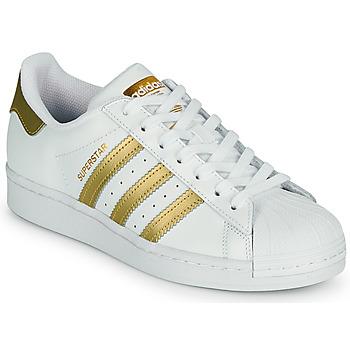 鞋子 女士 球鞋基本款 Adidas Originals 阿迪达斯三叶草 SUPERSTAR W 白色 / 金色
