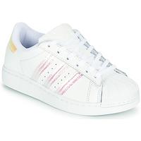 鞋子 女孩 球鞋基本款 Adidas Originals 阿迪达斯三叶草 SUPERSTAR J 白色 /  iridescent