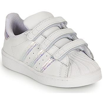 鞋子 女孩 球鞋基本款 Adidas Originals 阿迪达斯三叶草 SUPERSTAR CF I 白色 /  iridescent
