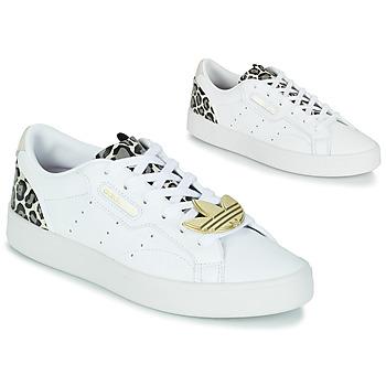 鞋子 女士 球鞋基本款 Adidas Originals 阿迪达斯三叶草 adidas SLEEK W 白色 / Leopard