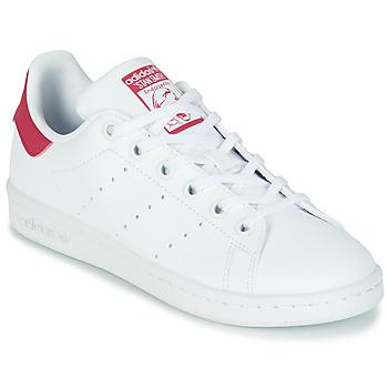 鞋子 女孩 球鞋基本款 Adidas Originals 阿迪达斯三叶草 STAN SMITH J SUSTAINABLE 白色 / 玫瑰色