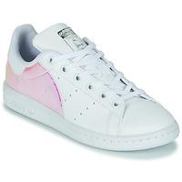 鞋子 女孩 球鞋基本款 Adidas Originals 阿迪达斯三叶草 STAN SMITH J SUSTAINABLE 白色 /  iridescent
