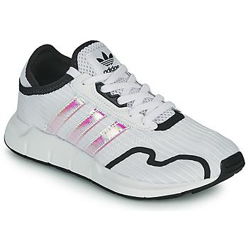 鞋子 女孩 球鞋基本款 Adidas Originals 阿迪达斯三叶草 SWIFT RUN X J 白色 /  iridescent