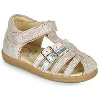 鞋子 女孩 凉鞋 SHOO POM by Pom d'Api PIKA SPART 米色 / 银灰色