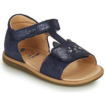 鞋子 女孩 凉鞋 SHOO POM by Pom d'Api TITY MIAOU 蓝色