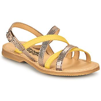 鞋子 女孩 凉鞋 Citrouille et Compagnie GENTOU 黄色 / 银灰色
