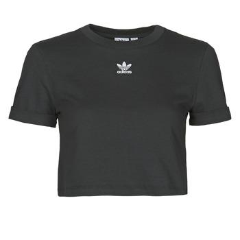 衣服 女士 短袖体恤 Adidas Originals 阿迪达斯三叶草 CROP TOP 黑色
