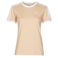 衣服 女士 短袖体恤 Adidas Originals 阿迪达斯三叶草 3 STRIPES TEE 橙色