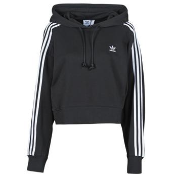 衣服 女士 卫衣 Adidas Originals 阿迪达斯三叶草 SHORT HOODIE 黑色