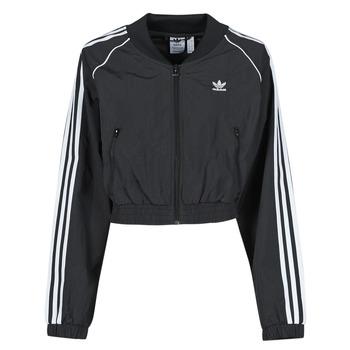 衣服 女士 运动款外套 Adidas Originals 阿迪达斯三叶草 SHORT TRACKTOP 黑色