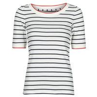 衣服 女士 短袖体恤 Esprit 埃斯普利 RAYURES COL ROUGE 白色