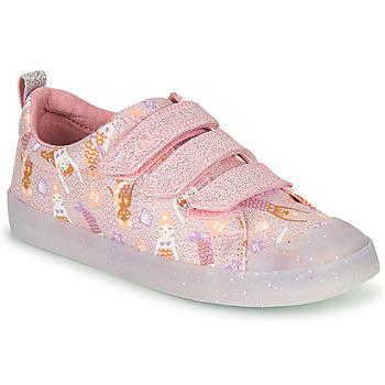 鞋子 女孩 球鞋基本款 Clarks 其乐 FOXING PRINT T 玫瑰色