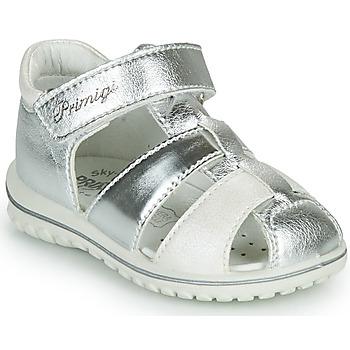 鞋子 女孩 凉鞋 Primigi GABBY 银灰色 / 白色