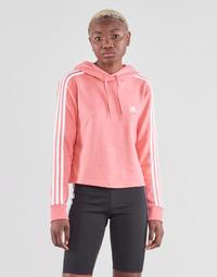 衣服 女士 卫衣 adidas Performance 阿迪达斯运动训练 W 3S FT CRO HD 玫瑰色