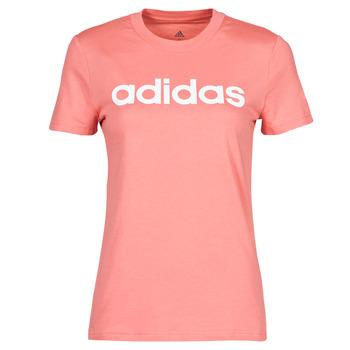 衣服 女士 短袖体恤 adidas Performance 阿迪达斯运动训练 W LIN T 玫瑰色