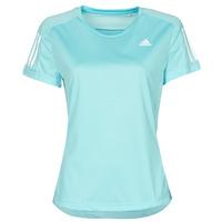 衣服 女士 短袖体恤 adidas Performance 阿迪达斯运动训练 OWN THE RUN TEE 蓝色