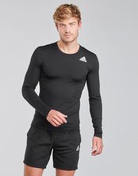 衣服 男士 长袖T恤 adidas Performance 阿迪达斯运动训练 TF LS 黑色