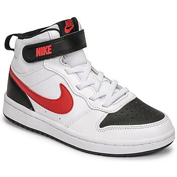 鞋子 男孩 球鞋基本款 Nike 耐克 NIKE COURT BOROUGH MID 2 白色 / 红色 / 黑色